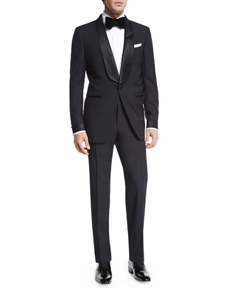 Tom Ford Windsor Base Sharkskin Three-Piece Suit, Charcoal In Black