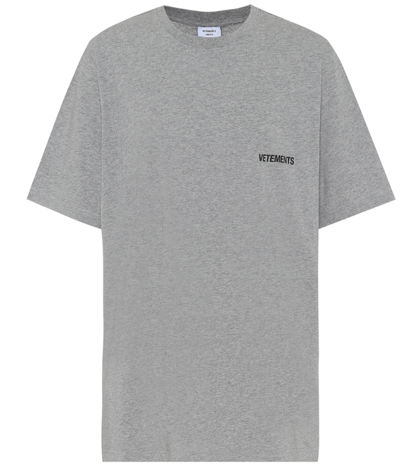 Vetements Cotton Logo T-shirt In Grey