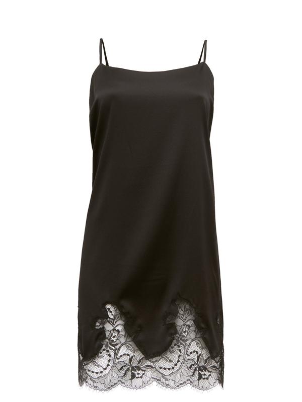 Fleur Of England Signature Lace-trimmed Silk-blend Slip Dress In Black