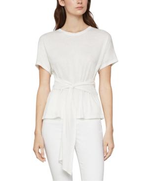 Bcbgmaxazria Tie-waist Linen-blend Top In Off White