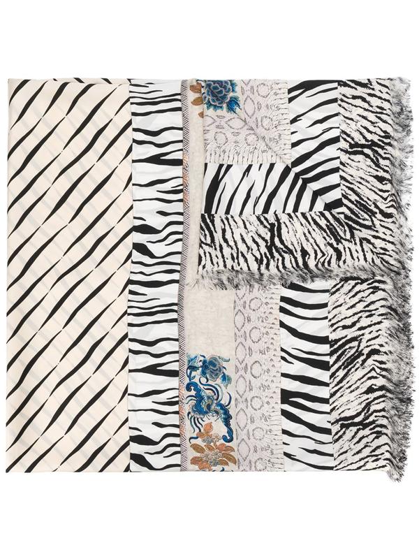 Pierre-louis Mascia Animal Pattern Fringed Scarf In White
