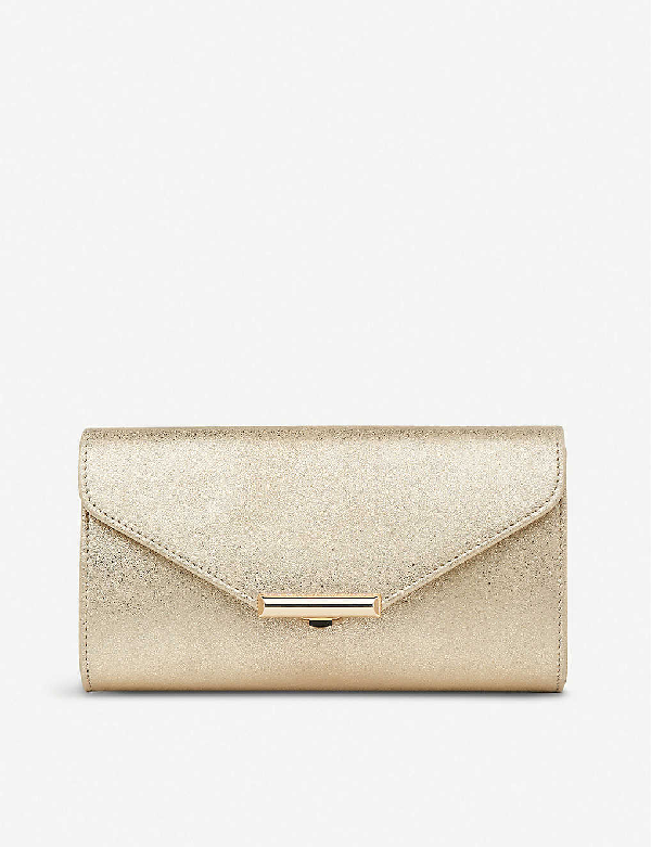 Lk Bennett Lucy Tri-fold Metallic-suede Clutch In Gol-soft Gold