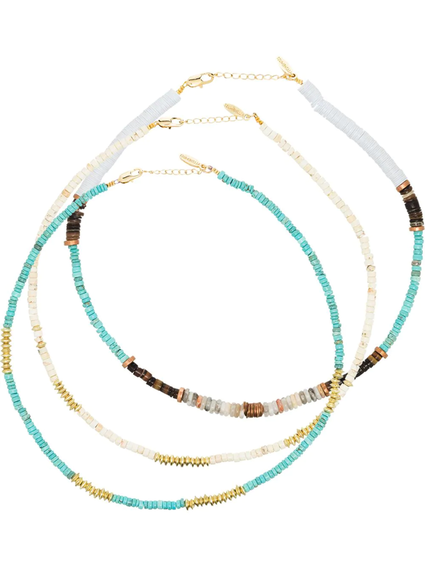 All The Must Gold-plated Heishi Beaded Necklace Set In White