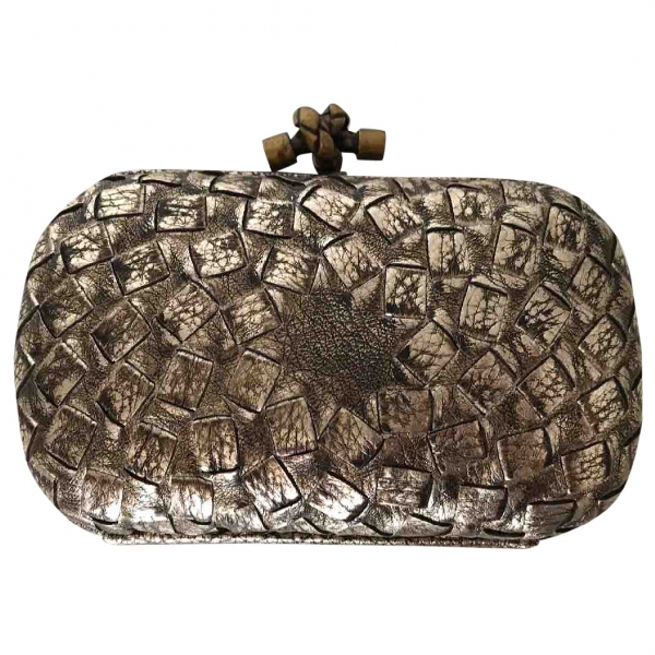 Bottega Veneta Pochette Knot Metallic Leather Clutch Bag