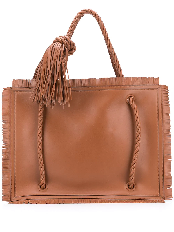 Valentino Garavani Garavani Large The Rope Leather Tote In Brown