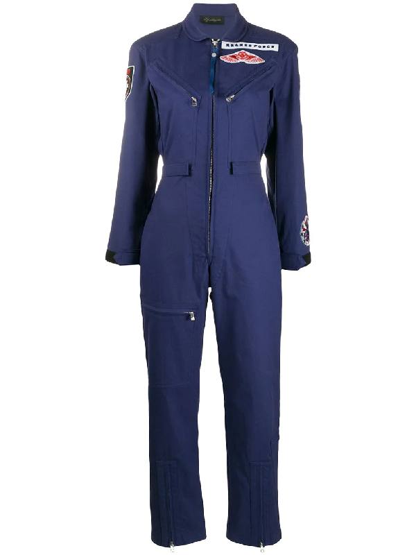 Mr & Mrs Italy Aviation-inspired Jumpsuit For Woman In Blue