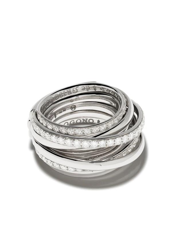 De Grisogono 18kt White Gold Layered Diamond Ring