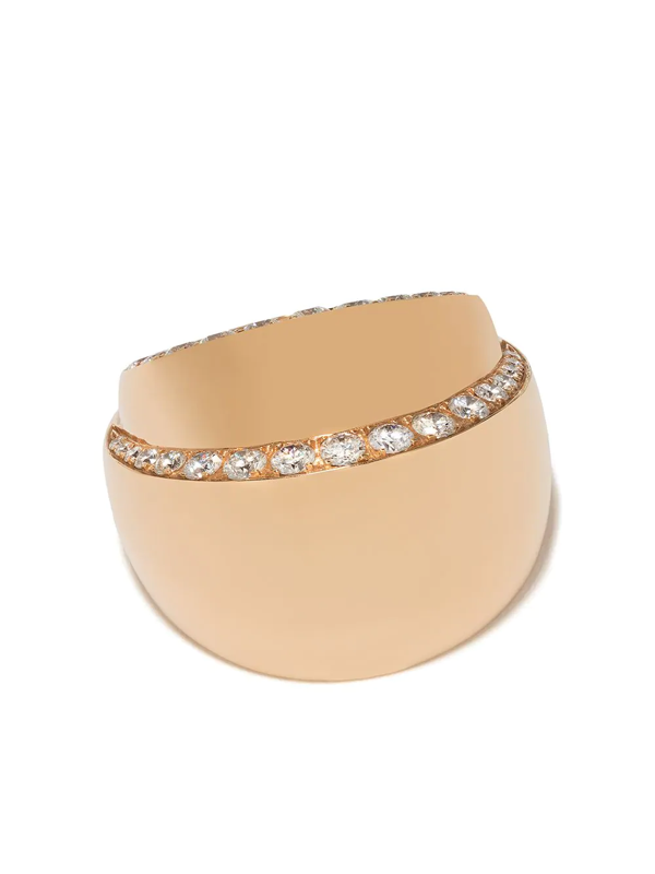 De Grisogono 18kt Rose Gold Layered Diamond Ring In Yellow Gold
