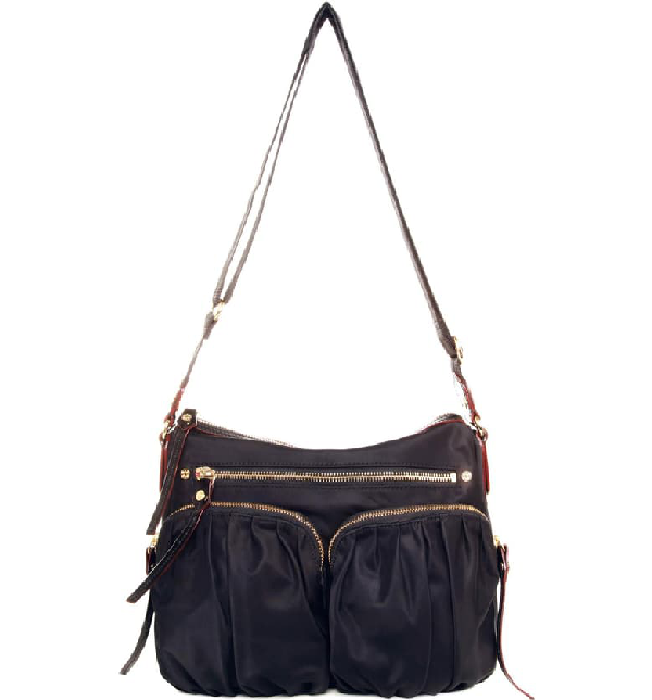 Mz Wallace 'paige' Bedford Nylon Crossbody Bag In Black Bedford