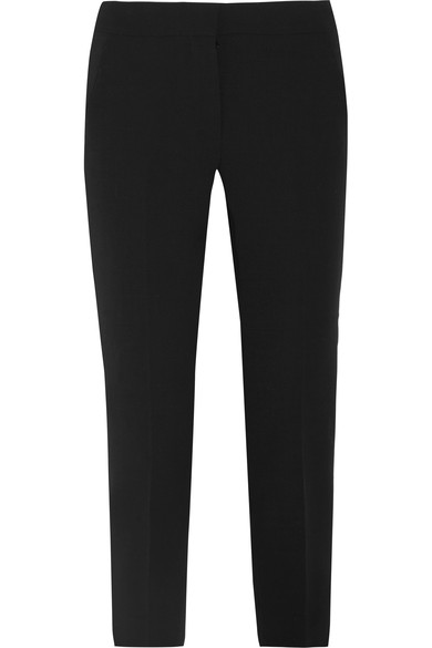 Max Mara Woman Alpe Cropped Stretch-wool Crepe Slim-leg Pants Black