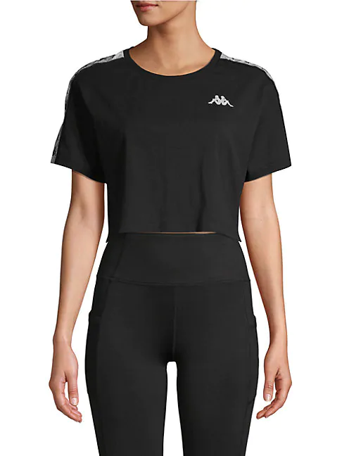 Kappa Cropped Logo Top With Taping-black In Blue Bird