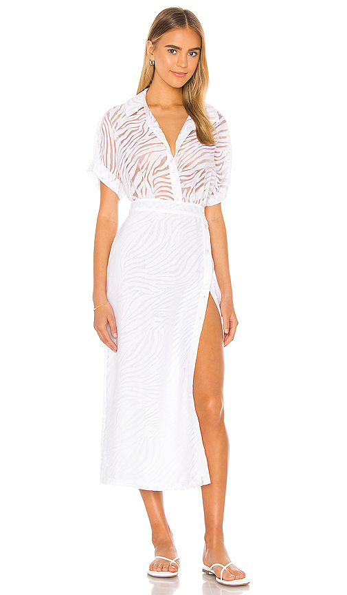 L'academie The Amoure Midi Dress In White Tiger