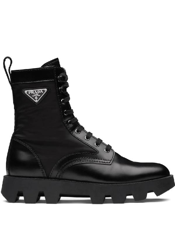 Prada Logo-plaque Leather And Nylon Combat Boots In Black