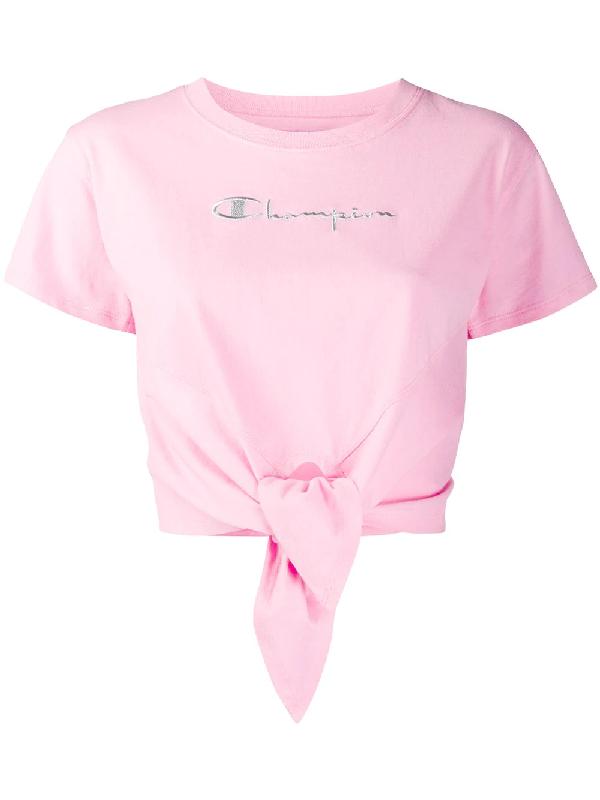 Chiara Ferragni X Champion Tie Front T-shirt In Pink