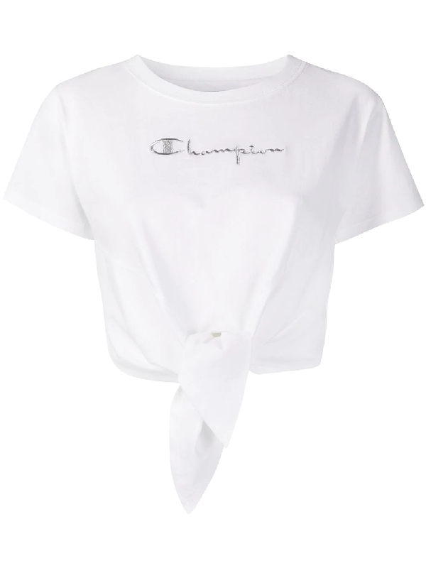 Chiara Ferragni X Champion Tie-front T-shirt In White
