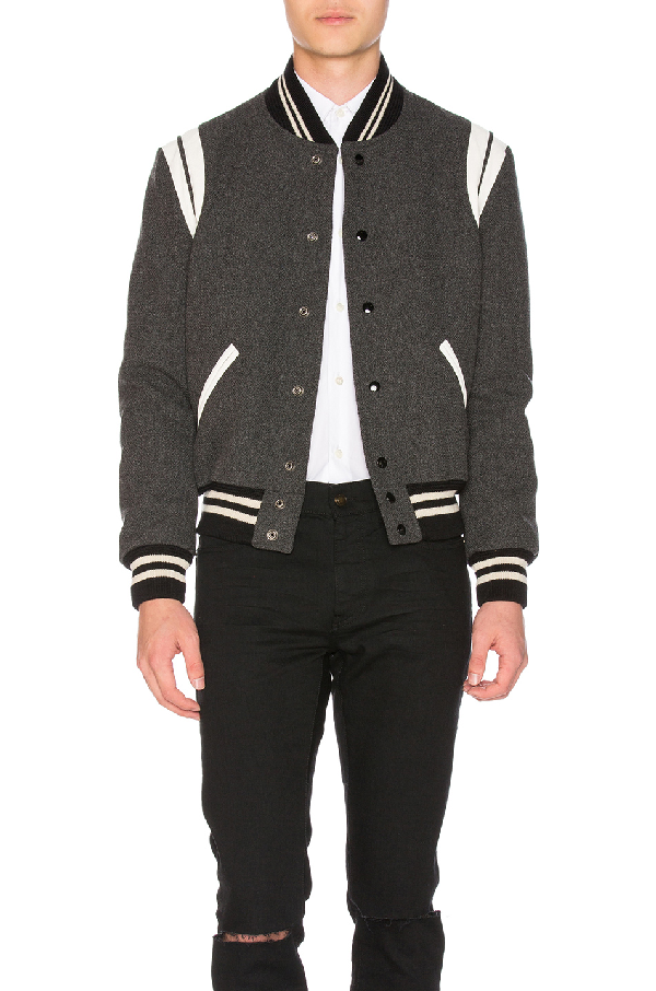121b1755e8b Saint Laurent Classic Teddy Jacket In Grey Wool In Grey Melange ...