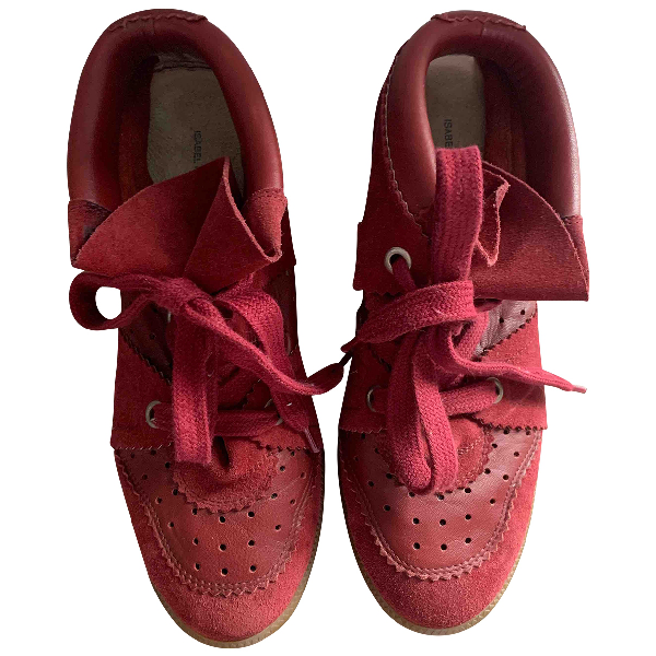 Isabel Marant Bobby Red Suede Trainers