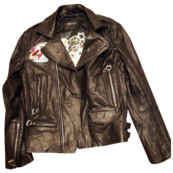 Les Éclaires Black Leather Leather Jacket