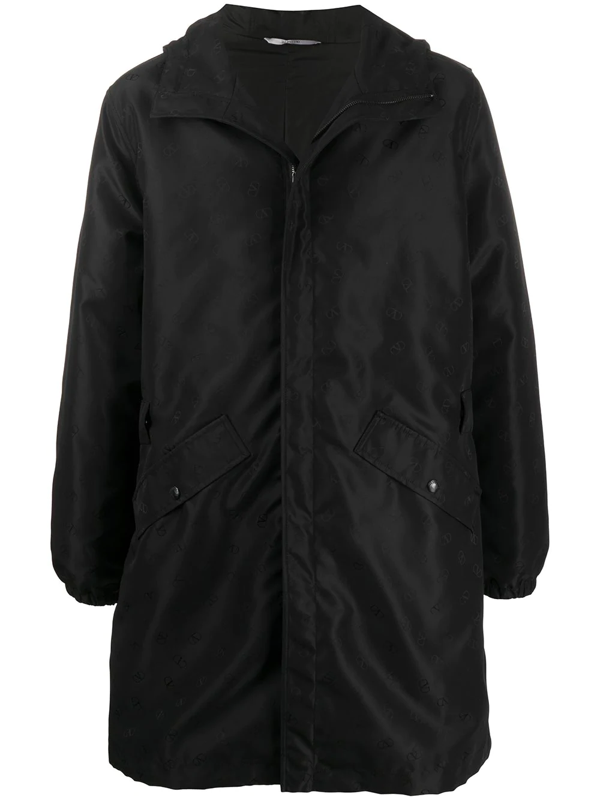Valentino Buckle-detail Mid-length Parka In Black