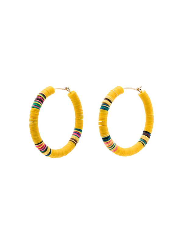 All The Must Gold-plated Heishi Beaded Hoop Earrings In Yellow