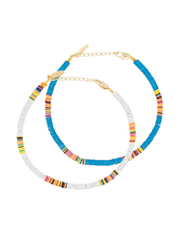 All The Must Gold-plated Heishi Anklet Set In White