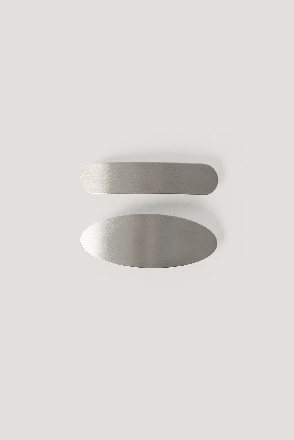 Na-kd 2-pack Chunky Hair Clips Silver