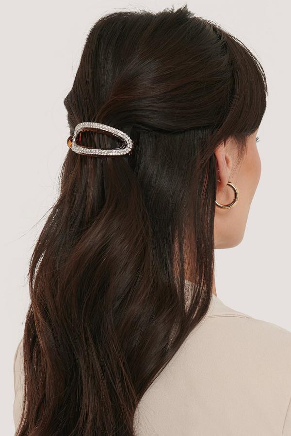 Na-kd Rhinestone Rounded Hairclip Brown