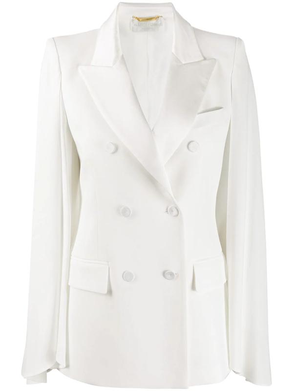 Alberta Ferretti Double-breasted Regular-fit Blazer In White