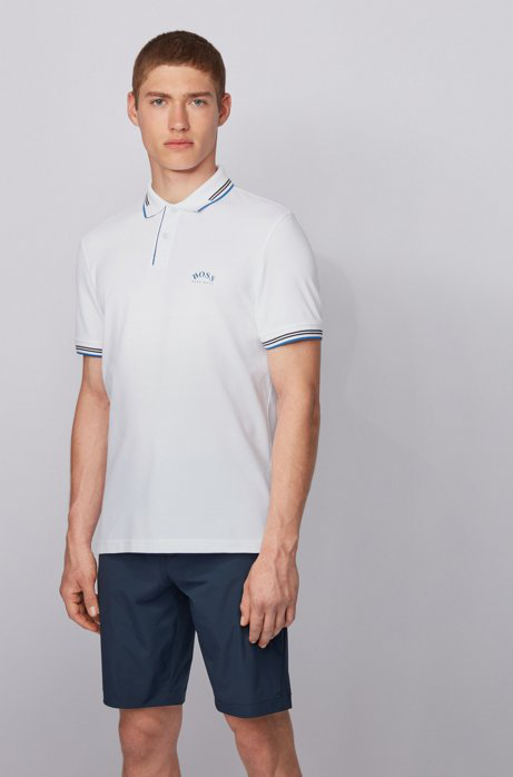 Hugo Boss Slim Fit Performance Curved Logo Polo In Natural