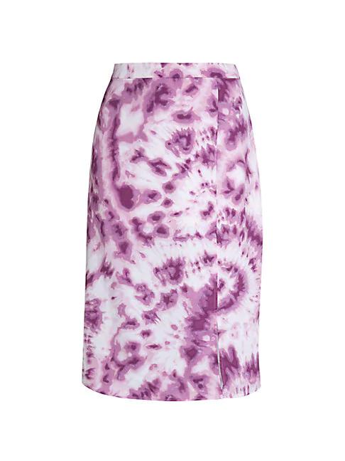 Bcbgeneration Tie-dye Front Slit Woven Skirt In Lavender