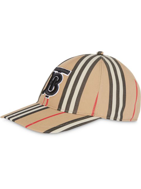 Burberry Icon Stripe Logo-embroidered Cotton Baseball Cap In Archive Bei