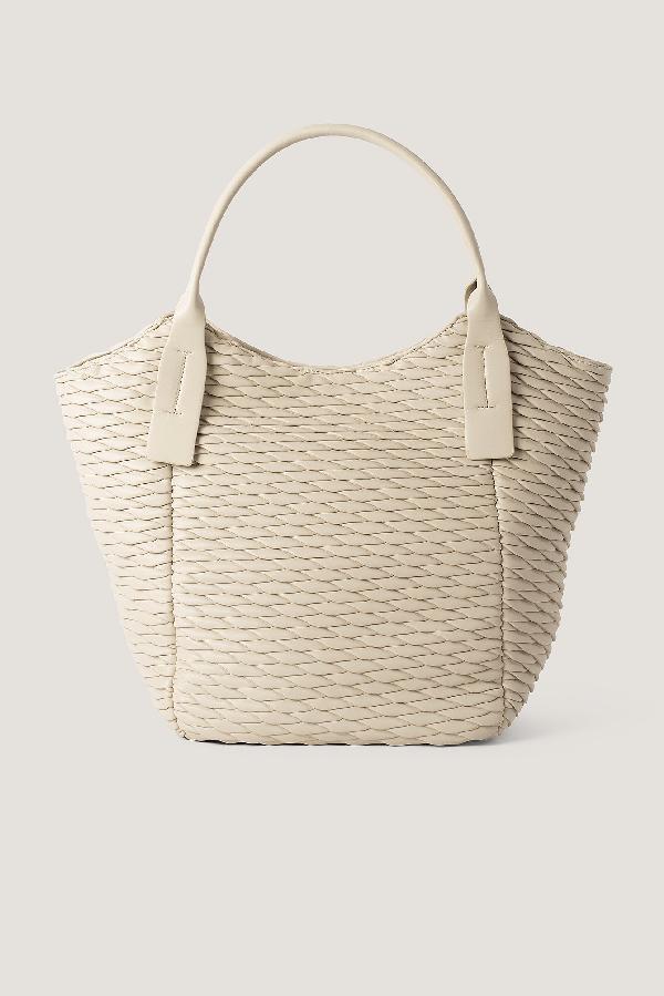 Na-kd Pattern Embossed Shopper Bag Beige In Latté