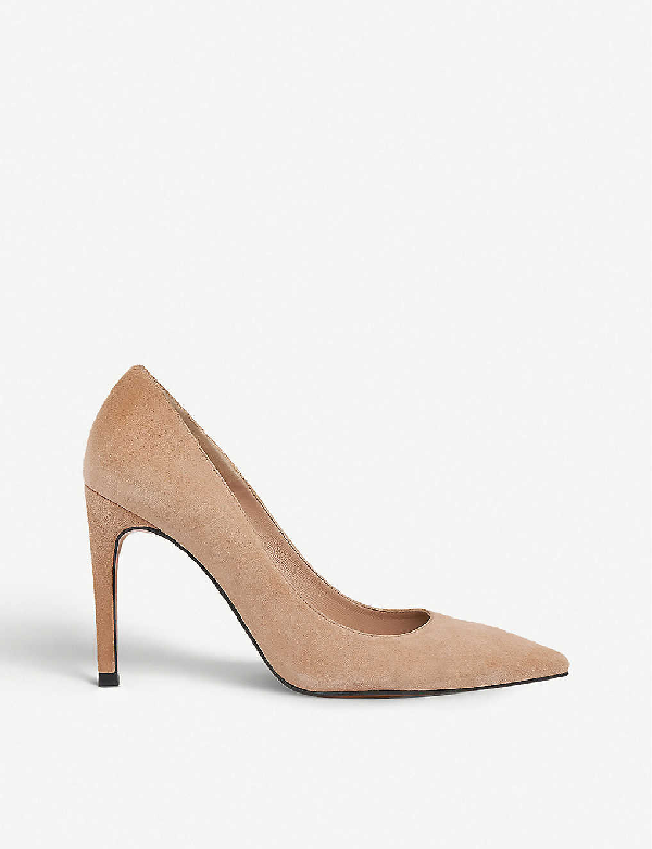 Whistles Cornel Pointed-toe Suede Courts In Nude