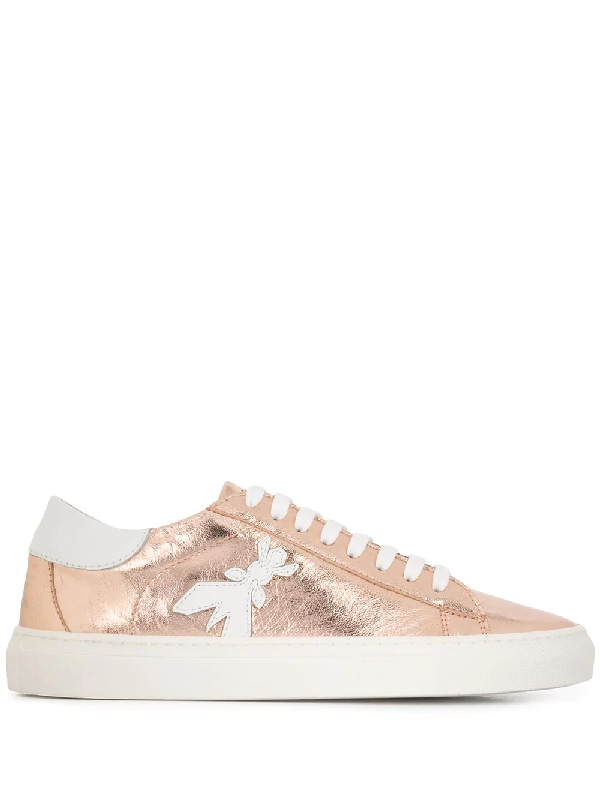 Patrizia Pepe Fly Patch Metallic Leather Sneaker In Gold