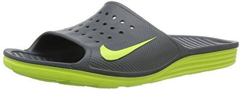 online store 76c13 e2603 Nike Solarsoft Slide Grey Mens Sandals In Dark Grey Volt Volt