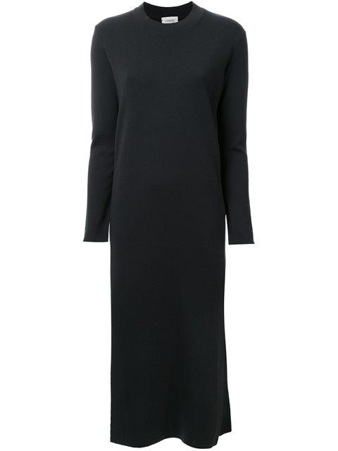 Lemaire Extrafine Wool Slit Dress In Midnight Blue