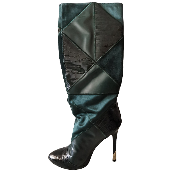 Versace Green Leather Boots