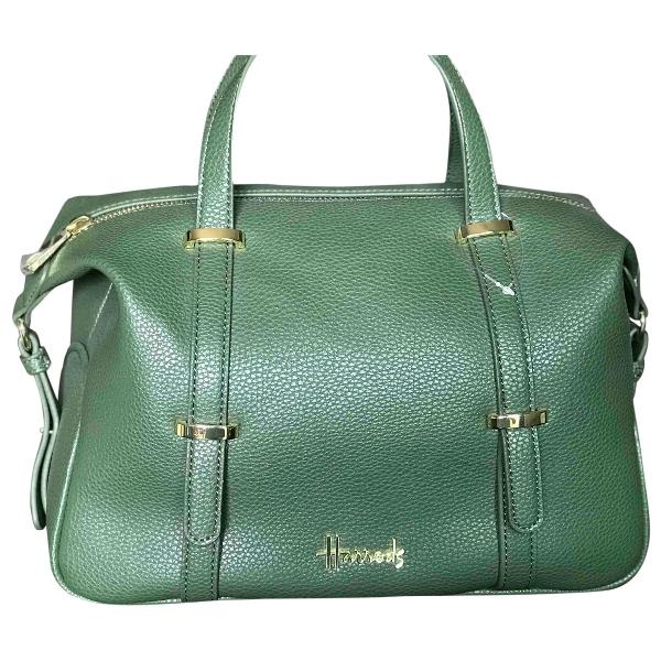 Harrods Green Leather Handbag