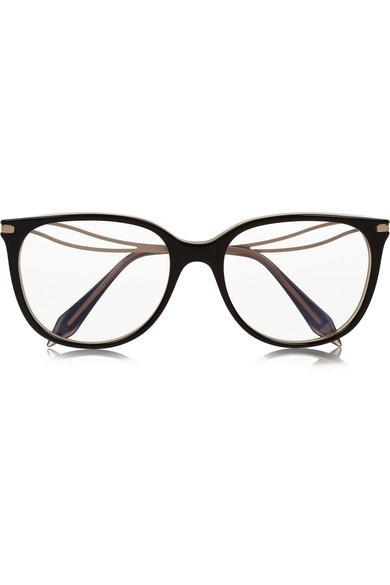 fc666888a3c3b Classic Kitten Cat-Eye Acetate And Gold-Tone Optical Glasses in Black