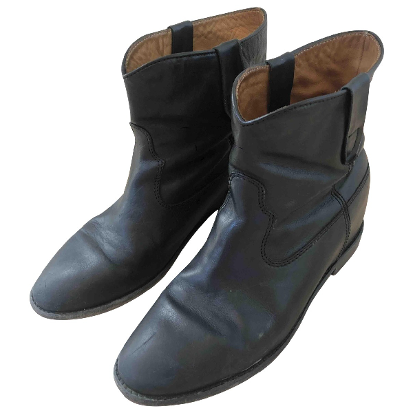 Isabel Marant Crisi  Black Leather Ankle Boots