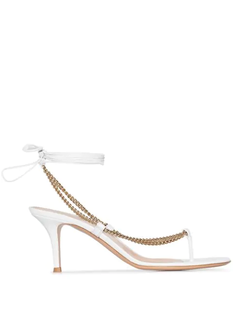 Gianvito Rossi Women's Chain-trimmed Ankle-strap Leather Thong Sandals In White