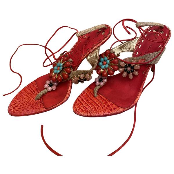 Emanuel Ungaro Red Suede Sandals
