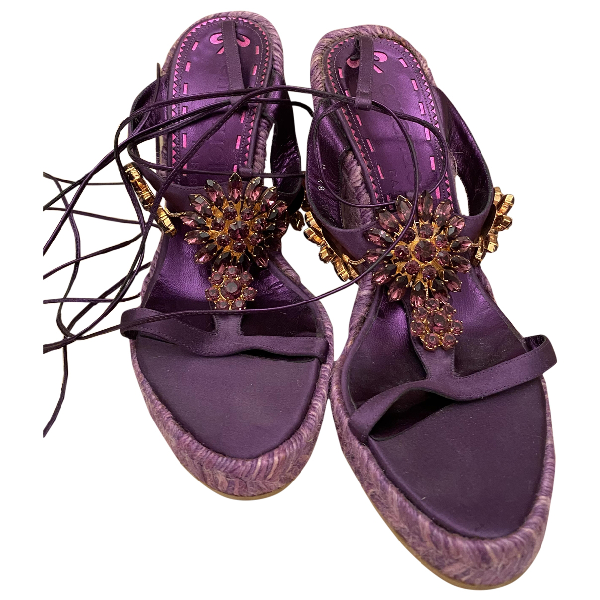 Emanuel Ungaro Purple Cloth Sandals