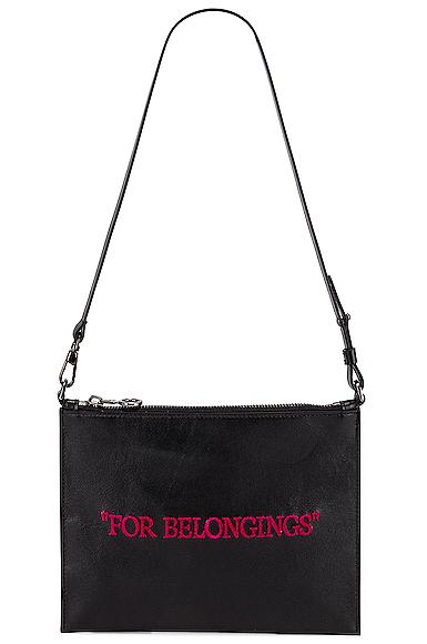 Off-white Flat Pochette Shoulder Bag In Black & Fuchsia