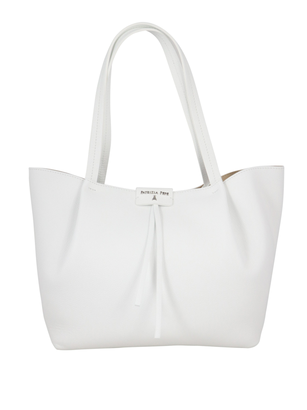 Patrizia Pepe Pepe City Leather Medium Tote Bag In Silver