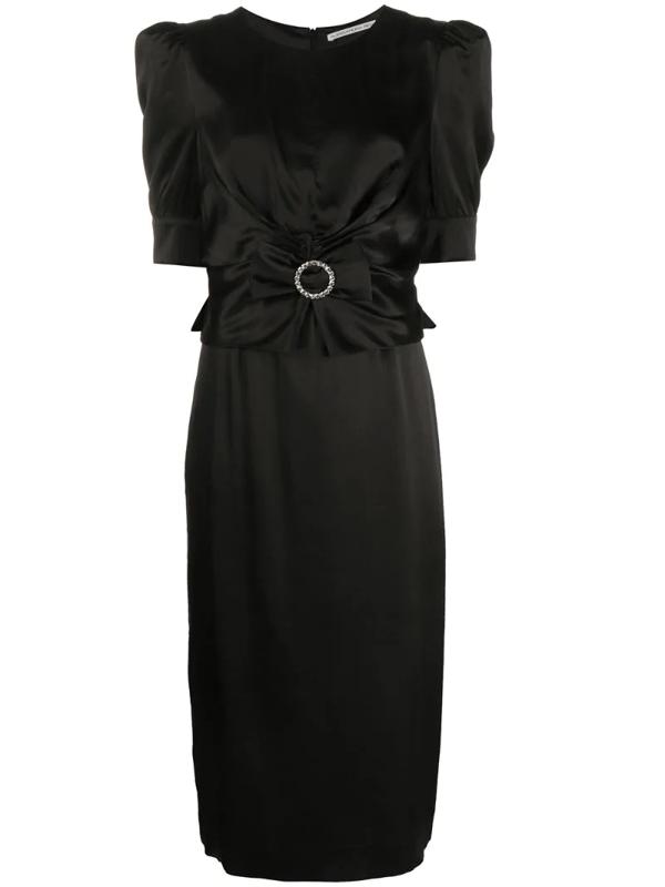 Alessandra Rich Embellished Bow Midi Dress In Black