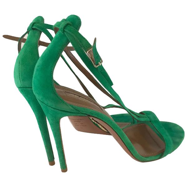 Aquazzura Green Suede Sandals