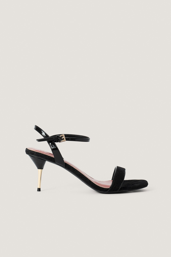 Na-kd Metal Heel Ankle Strap Sandals Black