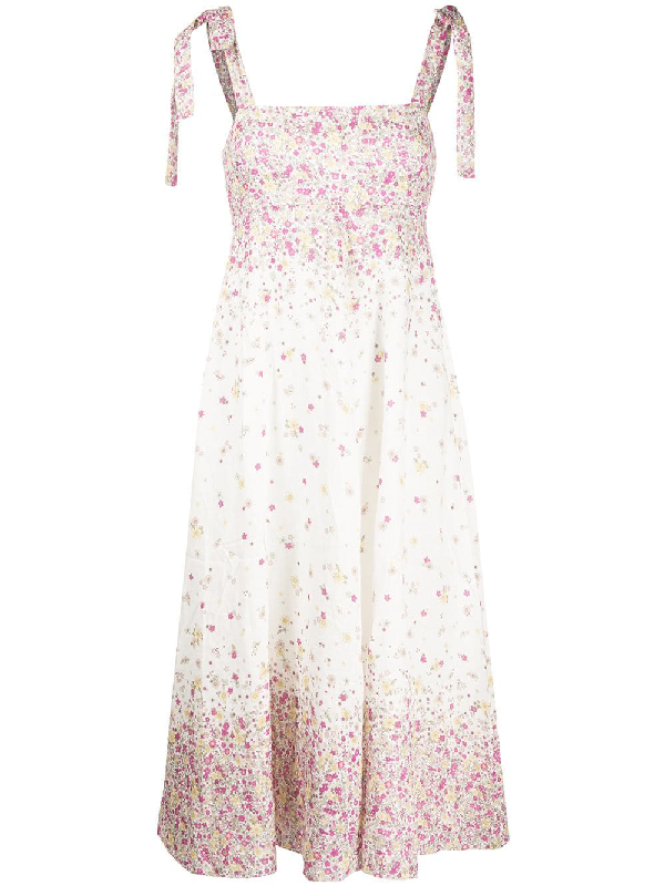 Zimmermann Carnaby Floral-print Linen Midi Dress In Neutrals