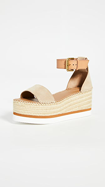 See By Chloé Ankle-strap Raffia-platform Sandals In Neutrals